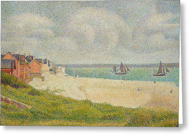 Neo Greeting Cards - Le Crotoy looking Upstream Greeting Card by Georges Pierre Seurat