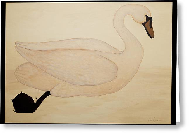 Water Fowl Paintings Greeting Cards - Le Cygne Greeting Card by Carrie Jackson