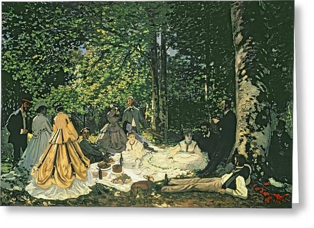 Sur Greeting Cards - Le Dejeuner sur lHerbe Greeting Card by Claude Monet