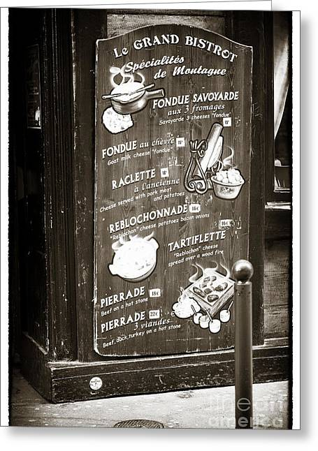 Brown Tones Greeting Cards - Le Grand Bistrot Menu Greeting Card by John Rizzuto