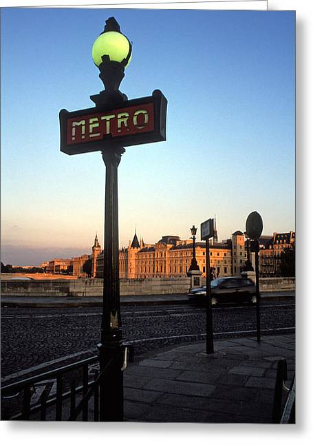 City Scapes Greeting Cards Greeting Cards - Le Metro at Dusk Greeting Card by Kathy Yates