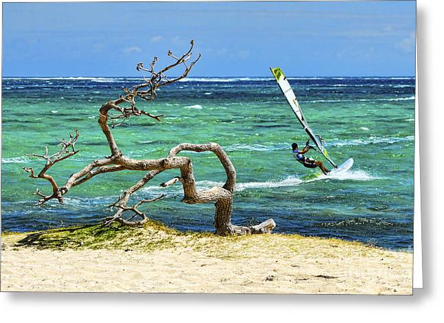 Best Sellers -  - Kite Boarding Greeting Cards - Le Morne Peninsula - Mauritius Greeting Card by JH Photo Service