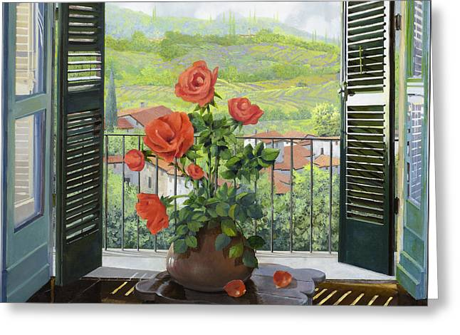 Tuscany Greeting Cards - Le Persiane Sulla Valle Greeting Card by Guido Borelli