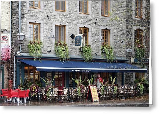 Quebec Restaurants Greeting Cards - Le Petit Cochons Dingue Greeting Card by John Burnett