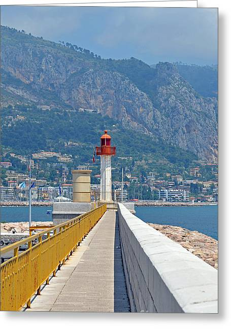 Menton Greeting Cards - Le Phare Greeting Card by Corinne Rhode