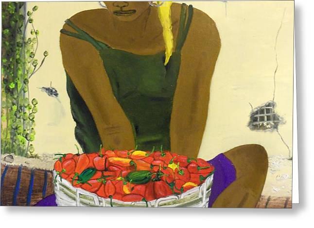 Le Piment Rouge d' Haiti Greeting Card by Nicole Jean-Louis