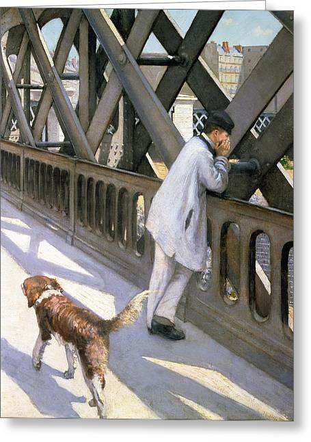 Dog Walking Greeting Cards - Le Pont de LEurope Greeting Card by Gustave Caillebotte