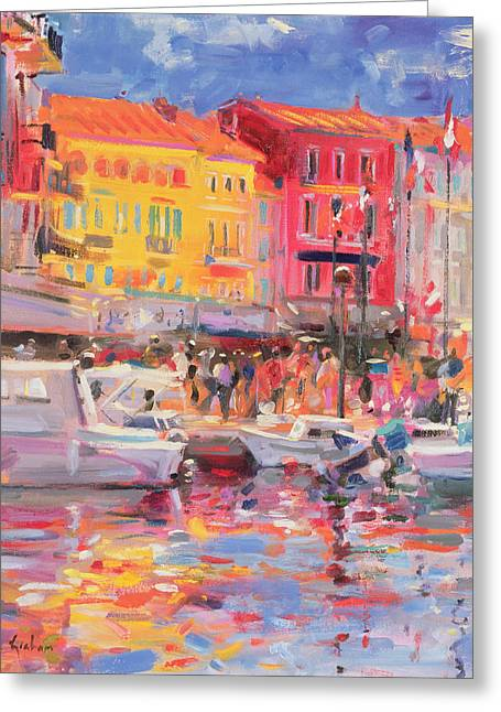 Docked Boats Greeting Cards - Le Port de St Tropez Greeting Card by Peter Graham