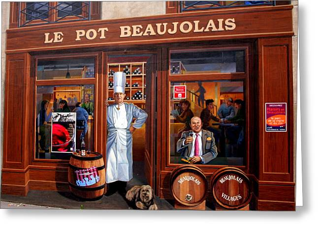 Beaujolais Greeting Cards - Le Pot Beaujolais Greeting Card by Laurel Talabere