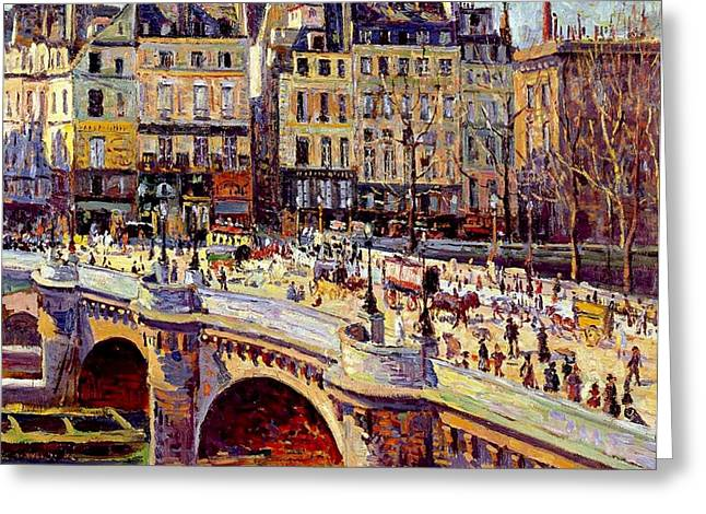 City Street Greeting Cards - Le Quai Conti Paris Greeting Card by Maximilien Luce