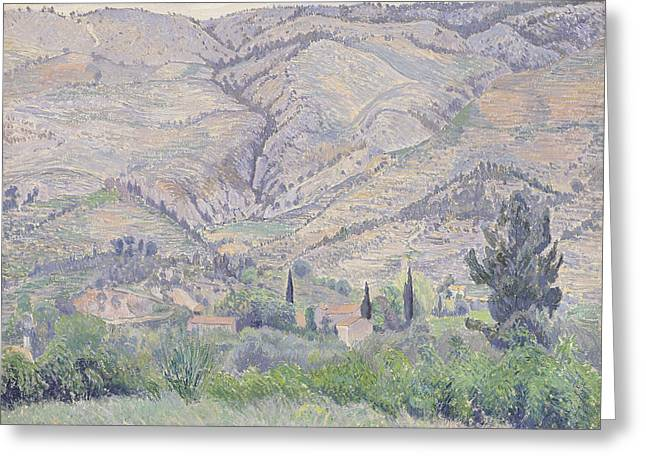 Camille Pissarro Paintings Greeting Cards - Le Ragas near Toulon Greeting Card by Camille Pissarro