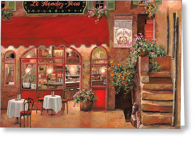 Street Scenes Paintings Greeting Cards - Le Rendez Vous Greeting Card by Guido Borelli