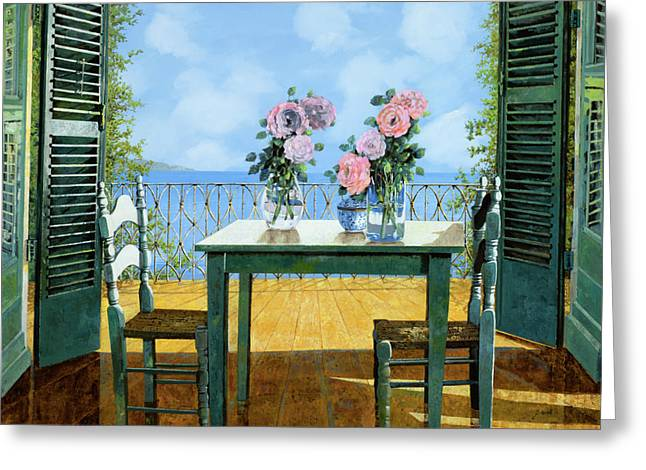 Blue Shadows Greeting Cards - Le Rose E Il Balcone Greeting Card by Guido Borelli