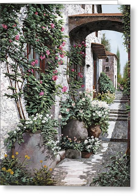 Path Greeting Cards - Le Rose Rampicanti Greeting Card by Guido Borelli