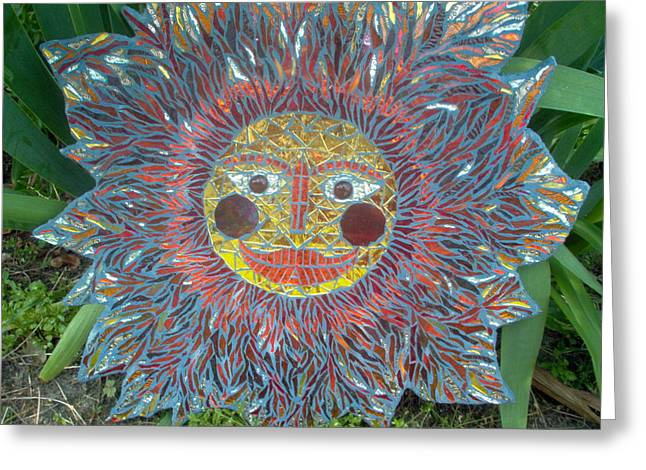 Glass Art Greeting Cards - Le Soleil Greeting Card by Kimberly Barrow