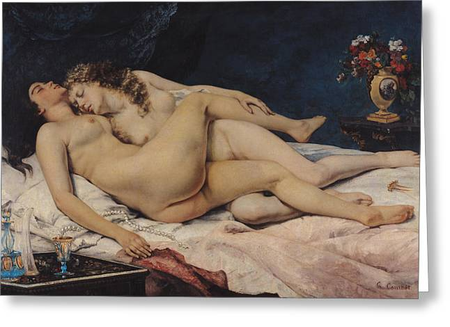 Table Greeting Cards - Le Sommeil Greeting Card by Gustave Courbet