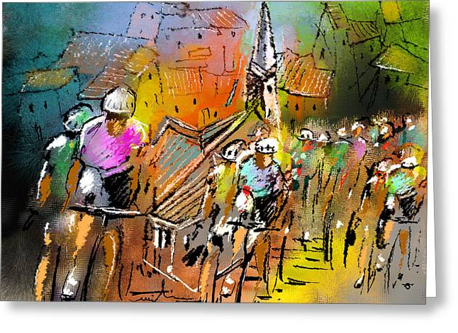 Townscape Digital Art Greeting Cards - Le Tour de France 04 Greeting Card by Miki De Goodaboom