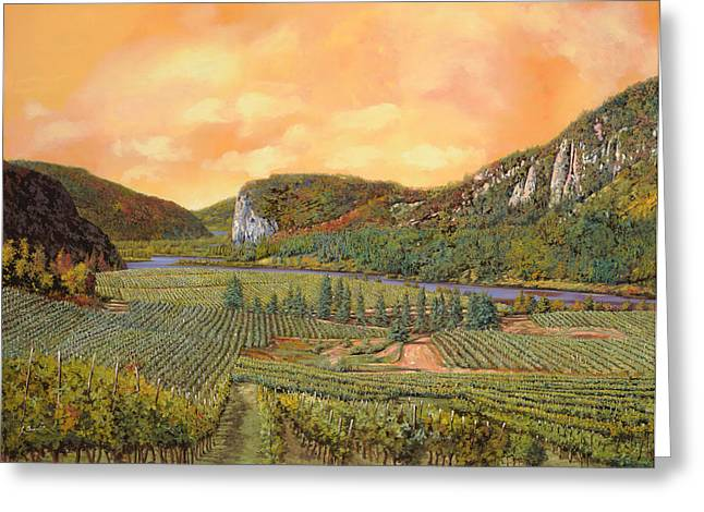 Vineyards Paintings Greeting Cards - Le Vigne Nel 2010 Greeting Card by Guido Borelli