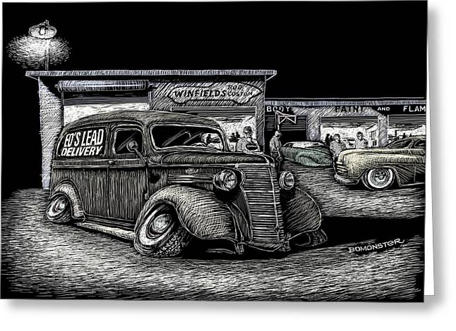 Kustom Kulture Greeting Cards - Lead Delivery Greeting Card by Bomonster