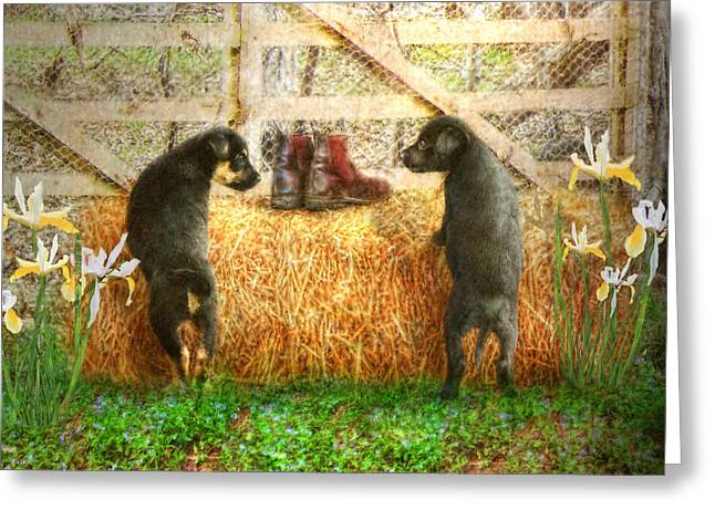Puppies Digital Art Greeting Cards - Lead Me Not Into Temptation  Greeting Card by Trudi Simmonds