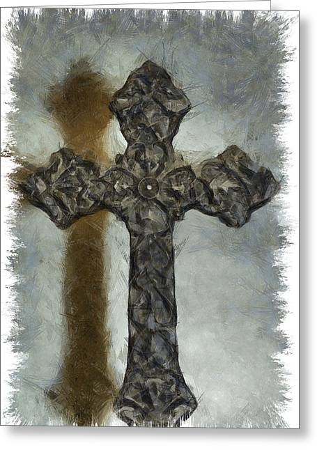 Jesus Mixed Media Greeting Cards - Lead Me To The Cross 1 Greeting Card by Angelina Vick
