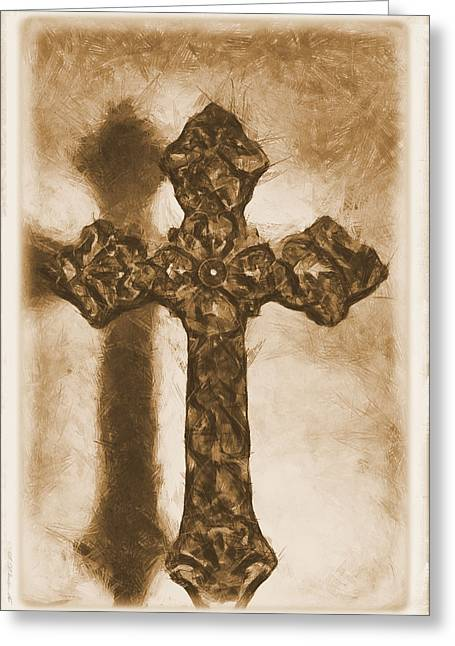 Jesus Mixed Media Greeting Cards - Lead Me To The Cross 2 Greeting Card by Angelina Vick