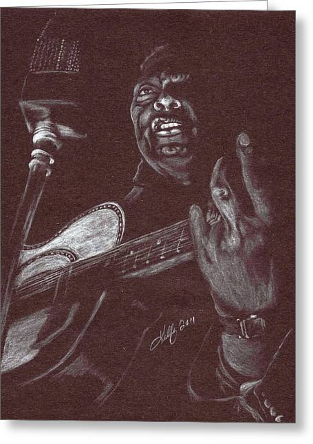 Guitar Pastels Greeting Cards - Leadbelly Greeting Card by Kathleen Kelly Thompson