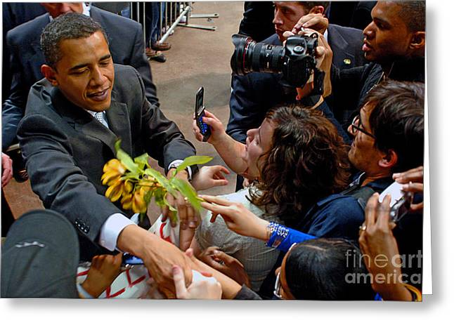 President Obama Greeting Cards - Leader of the Free World Greeting Card by Gib Martinez