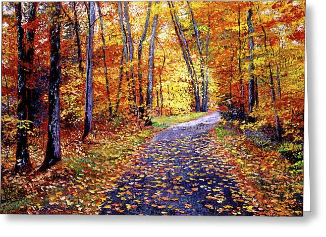 Fallen Leaves Greeting Cards - Leaf Covered Road Greeting Card by David Lloyd Glover