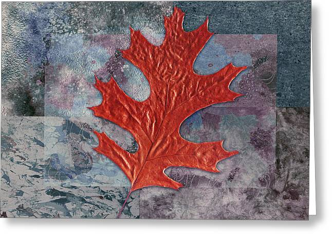 Red Leaves Digital Greeting Cards - Leaf Life 01 - t01b Greeting Card by Variance Collections