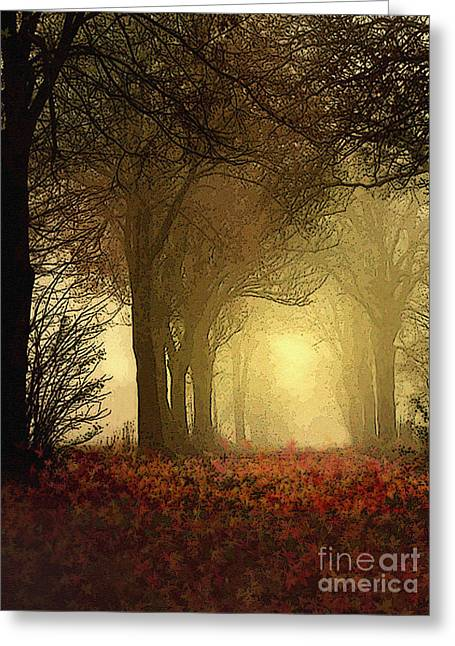 Leaf Path Greeting Card by Robert Foster