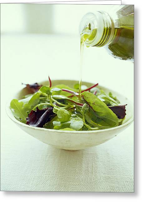Olive Oil Greeting Cards - Leaf Salad With Olive Oil Greeting Card by David Munns