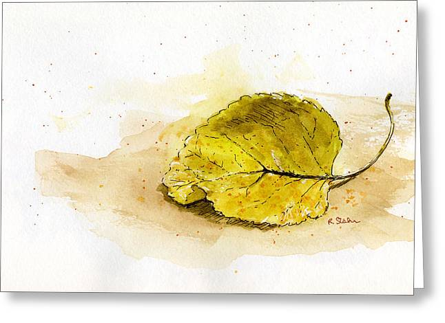 Nature Study Mixed Media Greeting Cards - Leaf Study No. 1 Greeting Card by Rebecca Stahr