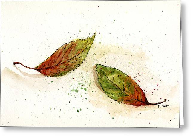 Nature Study Mixed Media Greeting Cards - Leaf Study No. 2 Greeting Card by Rebecca Stahr