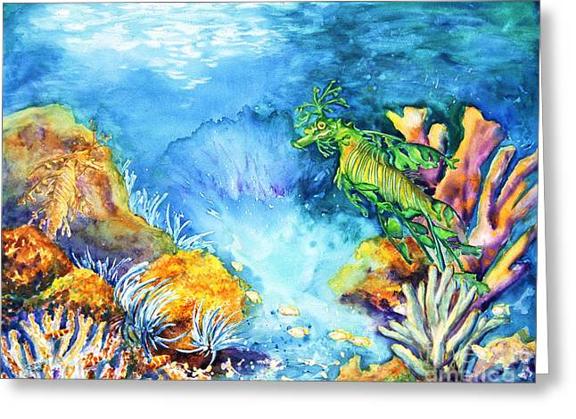 Leafy Sea Dragon Paintings Greeting Cards - Leafy Greeting Card by Art by Carol May
