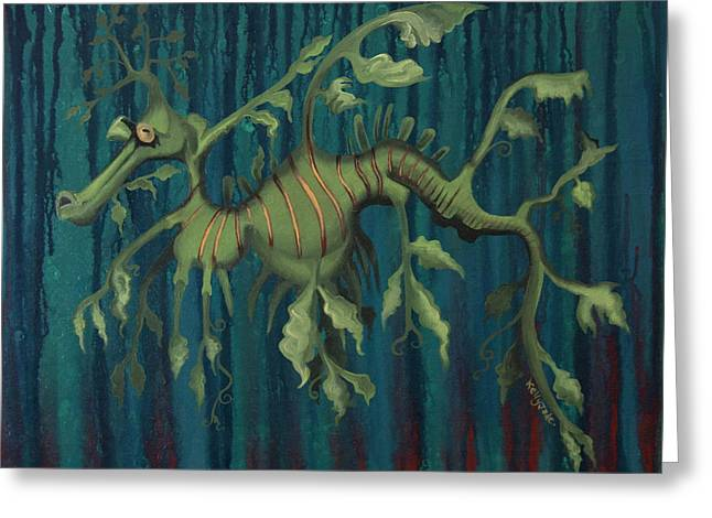 Leafy Greeting Cards - Leafy Sea Dragon Greeting Card by Kelly Jade King