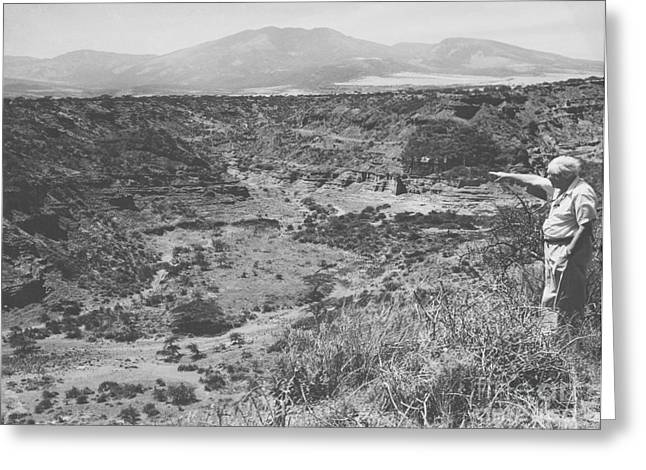 Anthropologists Greeting Cards - Leakey At The Olduvai Gorge Greeting Card by Science Source