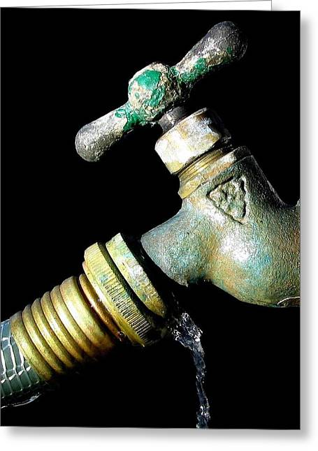 Faucet Greeting Cards - Leaky Spigot Greeting Card by Scott Brown