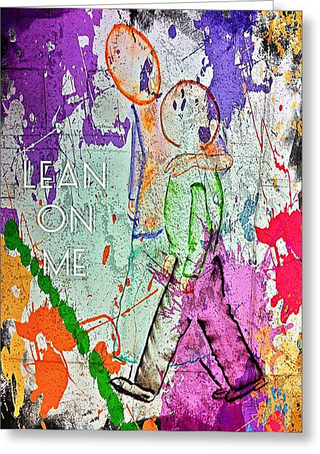 Child Care Mixed Media Greeting Cards - Lean On Me Greeting Card by Jan Steadman-Jackson