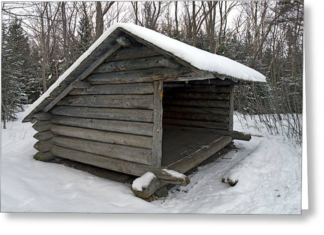 Snow Covered Ground Greeting Cards - Lean to Cabin in the Adirondack Mountains - Upstate New York during winter Greeting Card by Brendan Reals