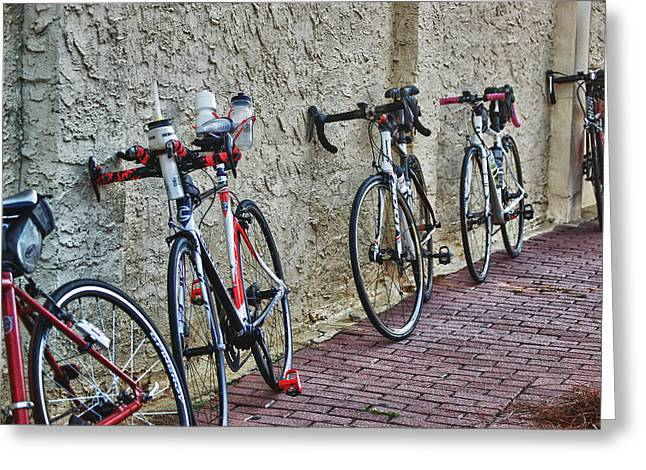 Crimson Tide Greeting Cards - Leaning Bikes Greeting Card by Michael Thomas