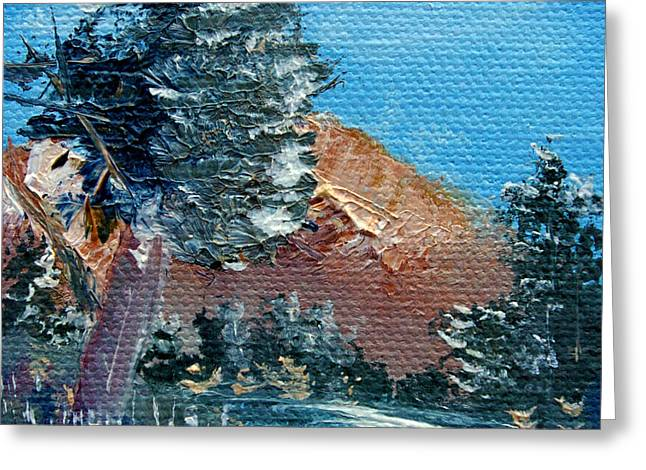 Leaning Pine Tree Landscape Greeting Card by Jera Sky