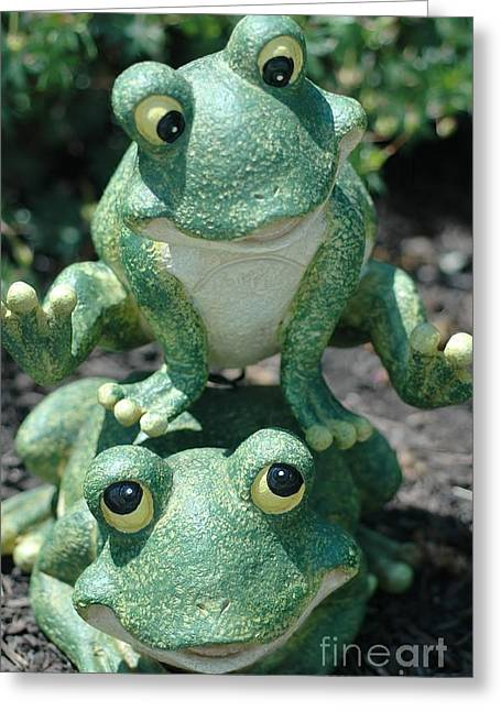 Garden Statuary Greeting Cards - Leap Frog Greeting Card by Kathleen Struckle