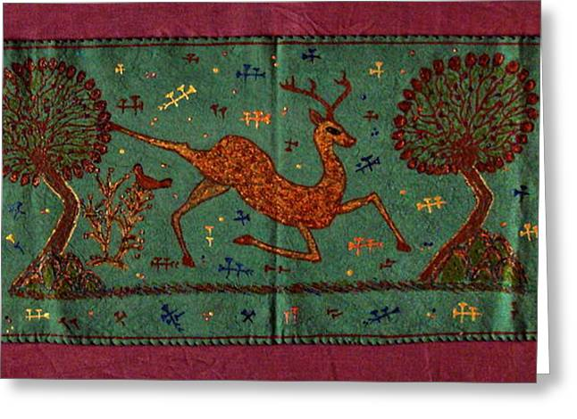 Tablets Tapestries - Textiles Greeting Cards - Leaping Gazelle Greeting Card by Siran Ajel