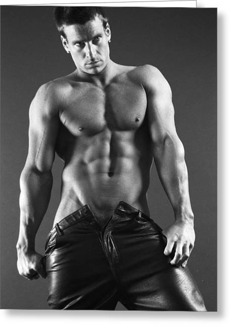 Fitness Model Greeting Cards - Leather Lothario Greeting Card by Thomas Mitchell