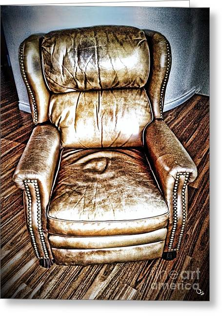 Lounge Digital Art Greeting Cards - Leather Recliner Greeting Card by Ron Bissett