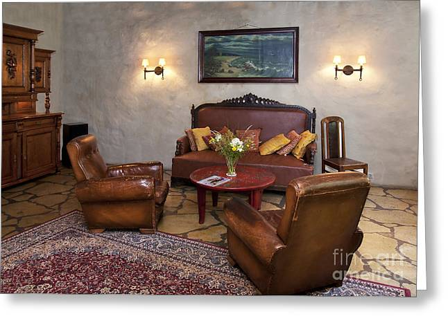 Coffee Table Couch Greeting Cards - Leather Seating at Pädaste Manor Greeting Card by Jaak Nilson