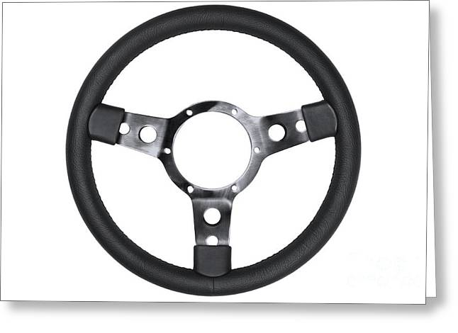 Traffic Control Greeting Cards - Leather steering wheel isolated Greeting Card by Richard Thomas