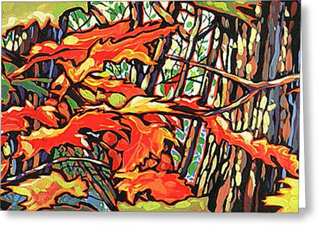 Nadi Spencer Paintings Greeting Cards - Leaves Long Greeting Card by Nadi Spencer