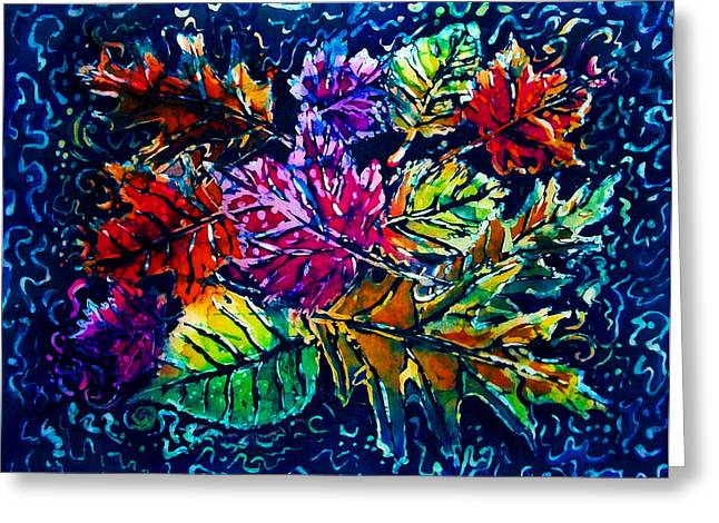 Surreal Tapestries - Textiles Greeting Cards - Leaves Greeting Card by Sue Duda